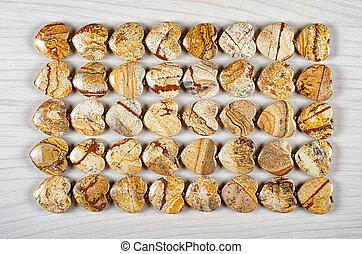 Picture jasper heart-shaped stones