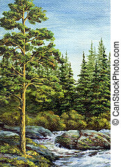 Picture, landscape, mountain river - Painting, picture oil...