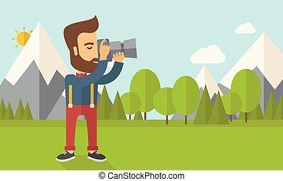picture., levando, fotógrafo