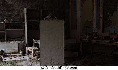Picture like in a horror film. shot at terrible abandoned school and kindergarten. Video from Pripyat town in the Chernobyl zone. Ukraine 2020