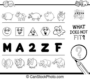 picture not fit in a row game coloring book - Black and ...