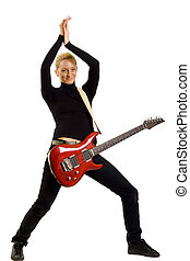 blond woman guitarist clapping