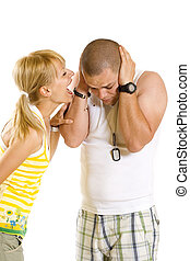 woman shouting and screaming at her boyfriend