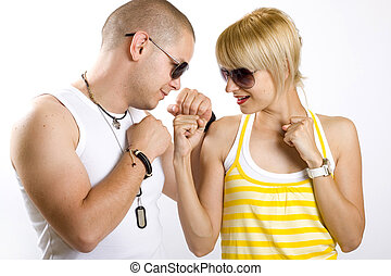 casual young couple in love playing - picture of a casual ...