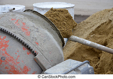 Cement mixer - Picture of a Cement mixer at work