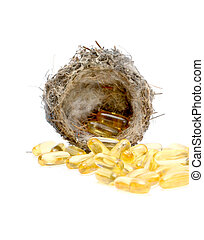 Cod liver oil omega 3 gel capsules in sparrow nest