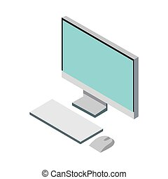 Picture of a computer on a white background. Vector illustration