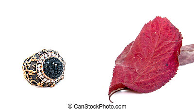 picture of a Fashion ring with autumn leaf