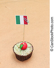 flag on a apple cupcake, italy