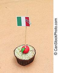 flag on a apple cupcake, italy