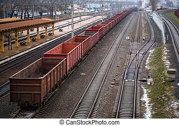 Picture of a freight train. Cargo transportation
