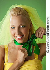 Picture of a happy funny bride