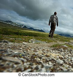 PIcture of a hiker walking