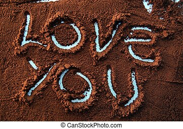 I love you text on coffee