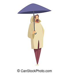 Picture of a man with an umbrella on a white background. Vector illustration.