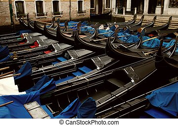 Picture of a many gondolas.