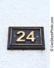 Metal plate with number 24