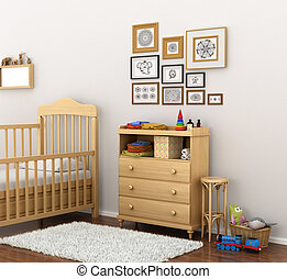 Picture of a modern baby room. 3D illustration