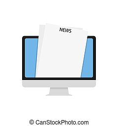 Picture of a monitor with the inscription news on a white background. Vector illustration. EPS 10