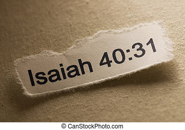 Picture of a paper with Isaiah 40:31 written on it.
