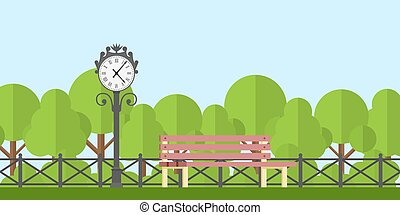 park bench - picture of a park bench and park clock with...