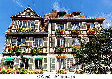 picturesque half timbered house in the old town of Strasbourg, France