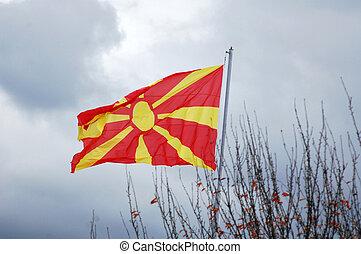 Republic of Macedonia flag on the mast