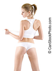 sexy blond woman pulling her undershirt - picture of a sexy...