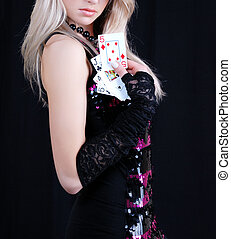 sexy woman holding playing cards