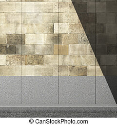 Picture of a shadow on the wall, street, 3d illustration
