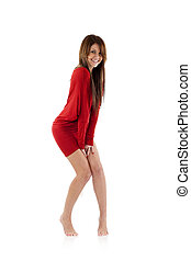 shy woman in red dress
