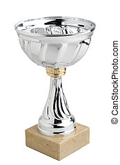 silver trophy - picture of a silver trophy isolated on a...