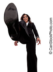 business woman stepping on something - picture of a smiling ...