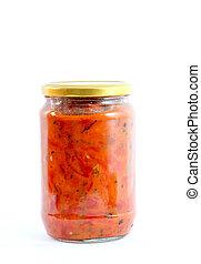 Traditional Macedonian food. Luteniitza in jar . homemade product