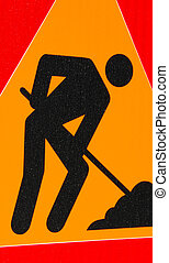 Traffic sign of a works on the road