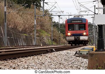 Train in movement