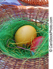 two easter eggs in a basket