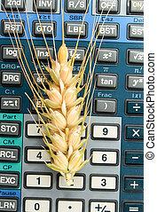 wheat ears on a calculator keypad