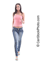 Picture of a young casual woman standing isolated on white