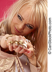 aggressive golden jewelry lady