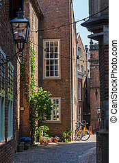 alley in the historical old town of Nijmegen, Netherlands