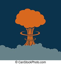 Picture of an explosion on a blue background. Vector illustration