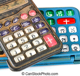 Old dusty and dirty calculator