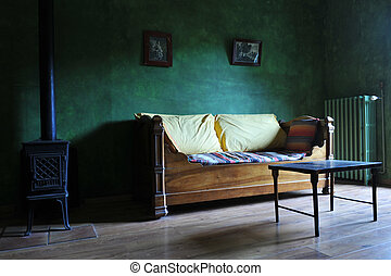 old living room - picture of an old living room with green...