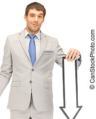 businessman with direction arrow sign