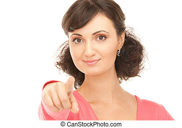 attractive businesswoman pointing her finger