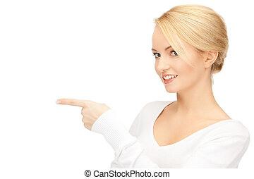businesswoman pointing her finger - picture of attractive ...