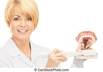 doctor with toothbrush and jaws