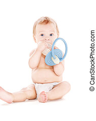 baby boy with big pacifier