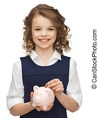 girl with piggy bank - picture of beautiful girl with piggy ...